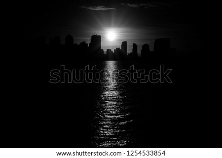 San Diego urban skyline in monochrome black and white with beautiful contours of down town cityscape with burning sun reflecting in sea water. More similar content is found in my portfolio.  #1254533854