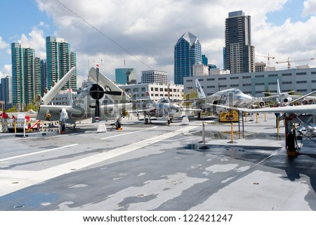 SAN DIEGO, USA - APRIL 9: View of San Diego downtown from the Aircraft carrier Midway as a museum of US navy at the Broadway Pie of San Diego, California, USA on April 9, 2011.