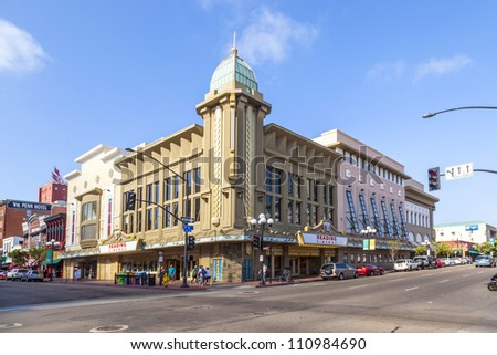 SAN DIEGO, USA - JUNE 11: facade of historic cinema Gaslamp 15 on June 11, 2012 in San Diego, USA. Since 2010, it is operated by Reading Cinemas ansd still serves as cinema.