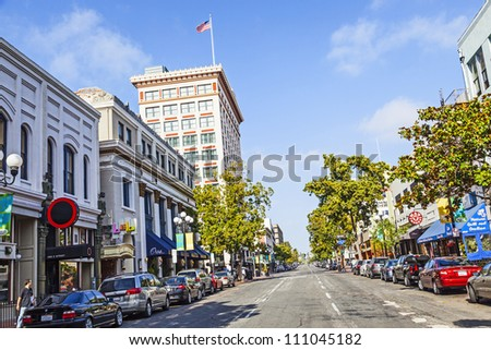 SAN DIEGO, USA - JUNE 11: facade of historic houses in the gaslamp quarter on June 11,2012 in San Diego, USA. The area is registered on the National Register of Historic Places and dates back to 1867.