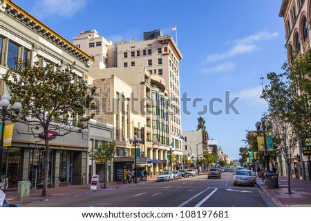 SAN DIEGO, USA - JUNE 11: facade of old houses in the gaslamp quarter on June 11, 2012 in San Diego, USA. The area is a district on the National Register of Historic Places and dates back to 1867.