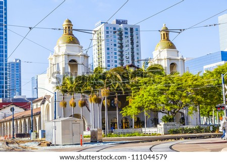 SAN DIEGO, USA - JUNE 11: famous Union Station on June 11, 2012 in San Diego, USA. The Spanish Colonial Revival style station opened on March 8, 1915 as Santa Fe Depot.