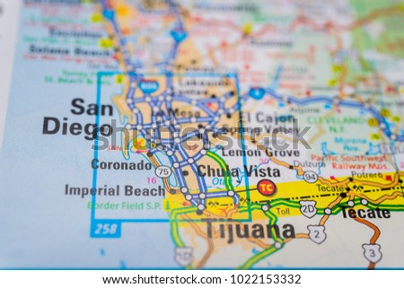 San Diego, USA map background | EZ Canvas