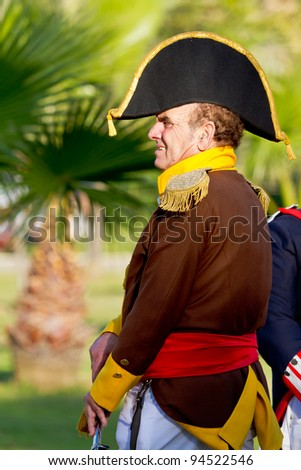 SAN FERNANDO, SPAIN - SEP 24: Actor taking part in the historical military reenacting of the oath of the Spanish constitution of 1812 on Sep 24, 2011 in San Fernando, Spain