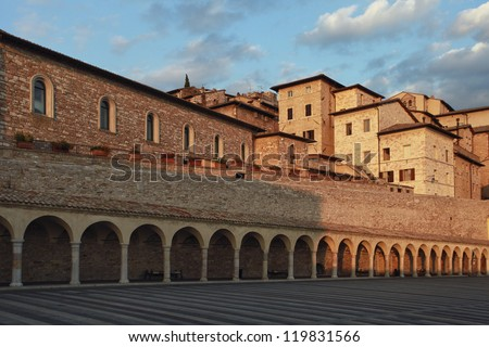 San Francesco square at Assisi, Umbria, Italy