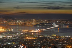 san francisco and bay area during sunset