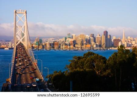 San Francisco and Bay Bridge at sunrise