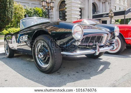 SAN FRANCISCO - APRIL 29: A 1957 BMW 507 Roadster is on display during the 2012 California Mille show in Nob Hill in San Francisco on April 29, 2012