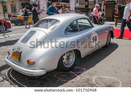 SAN FRANCISCO - APRIL 29: A 1957 Porsche 356 Coupe is on display during the 2012 California Mille show in Nob Hill in San Francisco on April 29, 2012
