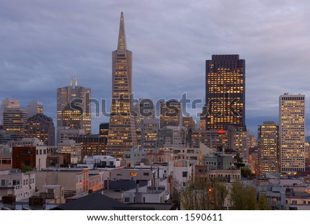 San Francisco at dusk, California, Usa