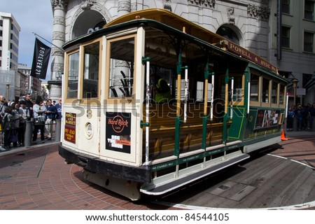 SAN FRANCISCO - AUG 20: A cable car turns around at the end of its line on August 20, 2011 in San Francisco. It is the oldest mechanical public transport in San Francisco since 1873.