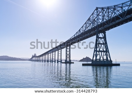San Francisco Bay Bridge and Sun