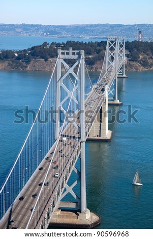 San Francisco Bay bridge and Treasure Island aerial