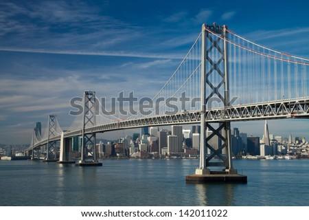 San Francisco Bay bridge in the morning
