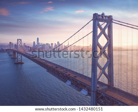 San Francisco Bay Bridge with San Francisco downtown in background