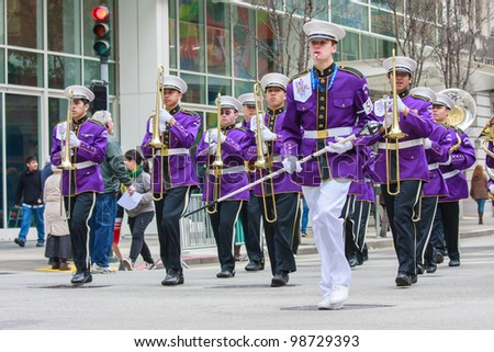 SAN FRANCISCO, CA - MARCH 17: A brass band marching during the St. Patric's Day Parade, March 17, 2012 in San Francisco, CA