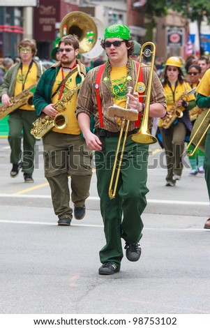 SAN FRANCISCO, CA - MARCH 17: A marching band during the St. Patric's Day Parade, March 17, 2012 in San Francisco, CA