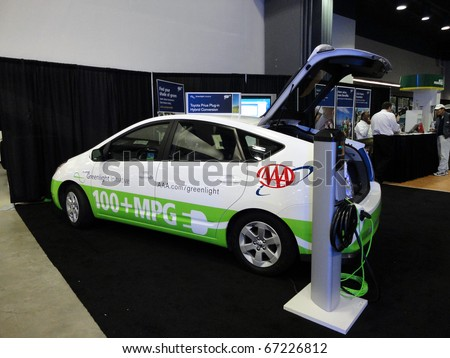 SAN FRANCISCO, CA - NOVEMBER 20: The AAA Emergency Road Service plug-in 100+ MPG Toyota Prius automobile is displayed at Auto Show, on November 20, 2010 San Francisco, California.
