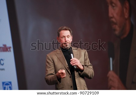 SAN FRANCISCO, CA, OCT 5, 2011 - CEO of Oracle Larry Ellison makes his first speech at Oracle OpenWorld conference on Oct 5, 2011. He is the third in the Forbes list of richest US persons