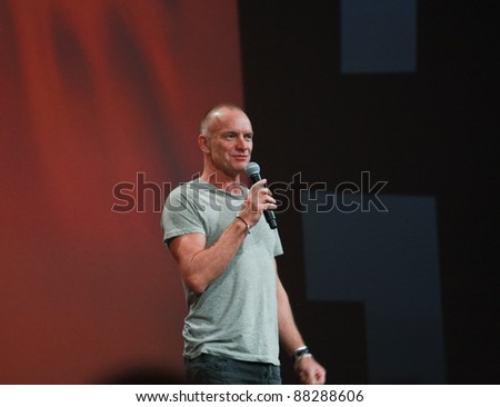 SAN FRANCISCO, CA, OCT 5 - World-renowned Grammy-winning musician and singer Sting welcomes attendees of Oracle OpenWorld 2011 conference Oct 5, 2011 in San Francisco, CA