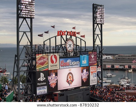 SAN FRANCISCO, CA - OCTOBER 28: ATT Park HDTV Scoreboard in the outfield bleachers displays 'Roberto Clemente Award 2010' on Scoreboard at AT&T Park on October 28, 2010 in San Francisco California.