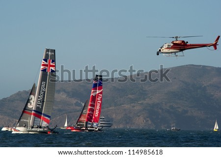 SAN FRANCISCO, CA - OCTOBER 4: Emirates Team New Zealand and Ben Ainslie Racing Team compete in the America'??s Cup World Series sailing races in San Francisco, CA on October 4, 2012