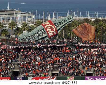 SAN FRANCISCO, CA - OCTOBER 20: Fans fill into the bleacher section of ballpark before start game 4 of the 2010 NLCS game between Giants and Phillies Oct. 20, 2010 AT&T Park San Francisco, CA.