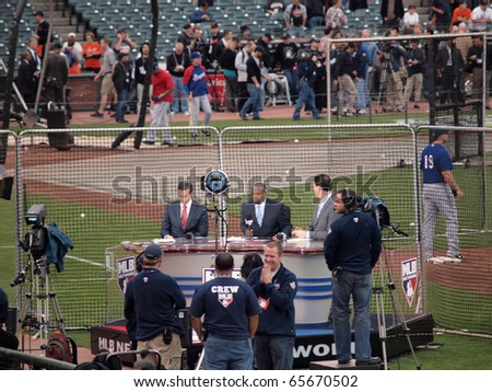 SAN FRANCISCO, CA - OCTOBER 28: MLB Network Broadcast team gets ready for pre-game TV show at game 2 of the 2010 World Series game between Giants and Rangers Oct. 28, 2010 AT&T Park San Francisco.