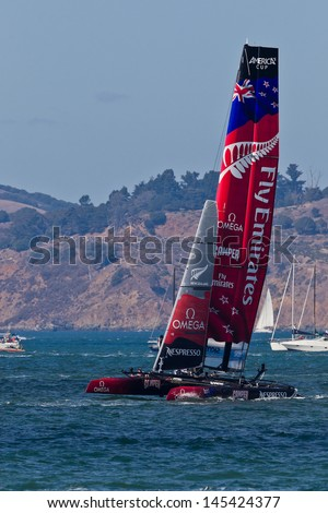 SAN FRANCISCO, CA - OCTOBER 7:  New Zealand team race in Louis Vuitton Cup part of America's Cup World Series on Oct 7, 2012 in San Francisco, CA.