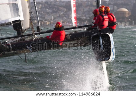 SAN FRANCISCO, CA - OCTOBER 4: Team China'??s sailboat skippered by Phil Robertson competes in the America's Cup World Series sailing races in San Francisco, CA on October 4, 2012