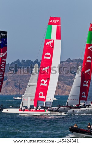 SAN FRANCISCO, CA - OCTOBER 7: The America�¢??s Cup World Series sailing fleet races during Fleet Week in San Francisco, CA on October 7, 2012