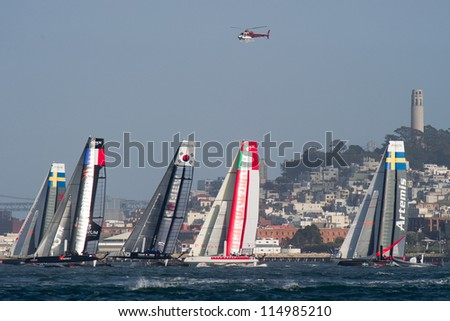 SAN FRANCISCO, CA - OCTOBER 4: The America'??s Cup World Series sailing fleet races in San Francisco, CA on October 4, 2012