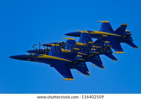 SAN FRANCISCO, CA - OCTOBER 6: US NAVY Blue Angels, on Boeing F/A-18 Hornet showing precision of flying and the highest level of pilot skills during Fleet Week on October 6, 2012 in San Francisco, CA