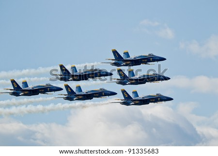 SAN FRANCISCO, CA - OCTOBER 8: US Navy Demonstration Squadron Blue Angels showing precision of flying and the highest level of pilot skills during Fleet Week on October 8, 2011 in San Francisco, CA. - stock photo