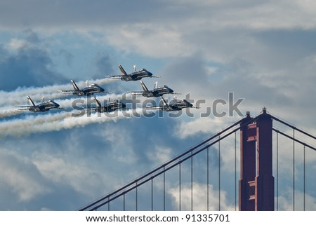 SAN FRANCISCO, CA - OCTOBER 8: US Navy Demonstration Squadron Blue Angels showing precision of flying and the highest level of pilot skills during Fleet Week on October 8, 2011 in San Francisco, CA.