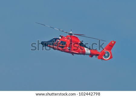 SAN FRANCISCO, CA - OCTOBER 9: USCG Helicopter Eurocopter HH-65 Dolphin demonstration during 2011 San Francisco Fleet Week on October 9, 2011 in San Francisco, CA.