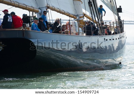 SAN FRANCISCO, CA - SEPTEMBER 13: Super yacht America competes in a regatta during the America\'s Cup in San Francisco, CA on September 13, 2013