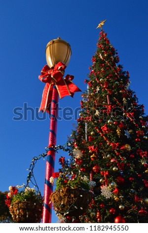 San Francisco, CA, USA December 5, 2013 A highly decorated Christmas tree and lamppost adorns Fisherman's Wharf in San Francisco #1182945550