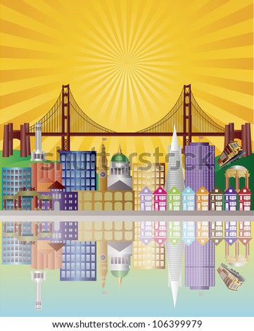 San Francisco California City Skyline with Golden Gate Bridge with Sunrise Background Raster Vector Illustration