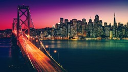 San Francisco California Cityscape. Beautiful Night