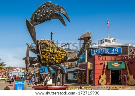 SAN FRANCISCO, CALIFORNIA - FEB 25: Pier 39 fisherman's wharf at San Francisco on February 25, 2008. Pier 39 is a famous tourist spot in San Francisco area and usually crowded in the weekend.