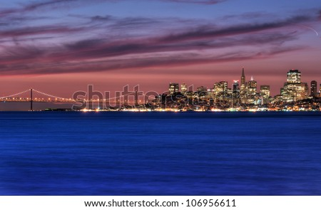San Francisco, California skyline overlooking the San Francisco Bay at sunrise.