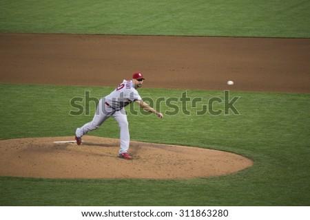 San Francisco, California, USA, October 16, 2014, AT&T Park, baseball stadium, SF Giants versus St. Louis Cardinals, National League Championship Series (NLCS), Pitcher Adam Wainwright