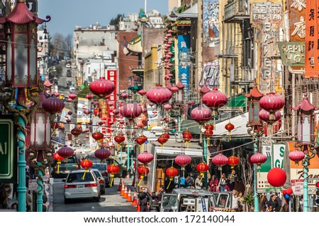SAN FRANCISCO, CANADA - FEB 25: Preparations underway for Chinese New Year in San Francisco's beautiful China Town on February 25, 2008 in urban San Francisco. Chinese lanterns hang between buildings