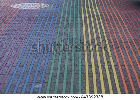 Shutterstock San Francisco Castro District Rainbow Crosswalk at the Intersection of Castro and 18th streets. Work done by the Castro Street Improvement Project, San Francisco, California.