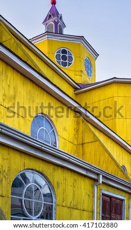 San Francisco church in Castro, Chiloe island. The majority religion in Chile is Christianity (68%), with an estimated 55% of Chileans belonging to the Catholic church.