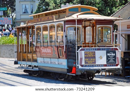 SAN FRANCISCO - CIRCA JUNE 2009: Cable car tram circa June 2009 in San Francisco, USA. The San Francisco cable car system is world last permanently operational manually operated cable car system.