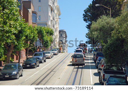 SAN FRANCISCO - CIRCA JUNE 2009: San Francisco street circa June 2009 in San Francisco, USA. The San Francisco has a steepest streets with a highest gradient angle in the world.