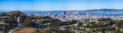 San francisco City and twin peaks Panoramic View 70 megapixel on a bright sunny day