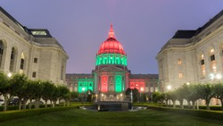 San Francisco City Hall lit in Red, Green, and Black, via the Memorial Court, honoring Juneteenth Holiday/Emancipation Day